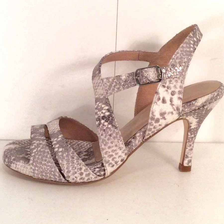 NUVOLETTA, NEW grey/silver/snake, 8cm heel, size 37, Wide fitting.