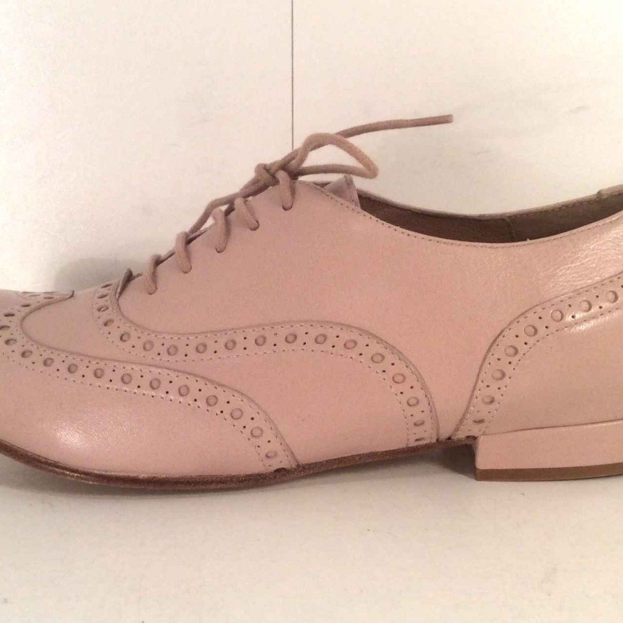 NUVOLETTA, New, nude/pink, brogues, leather soles, size 37