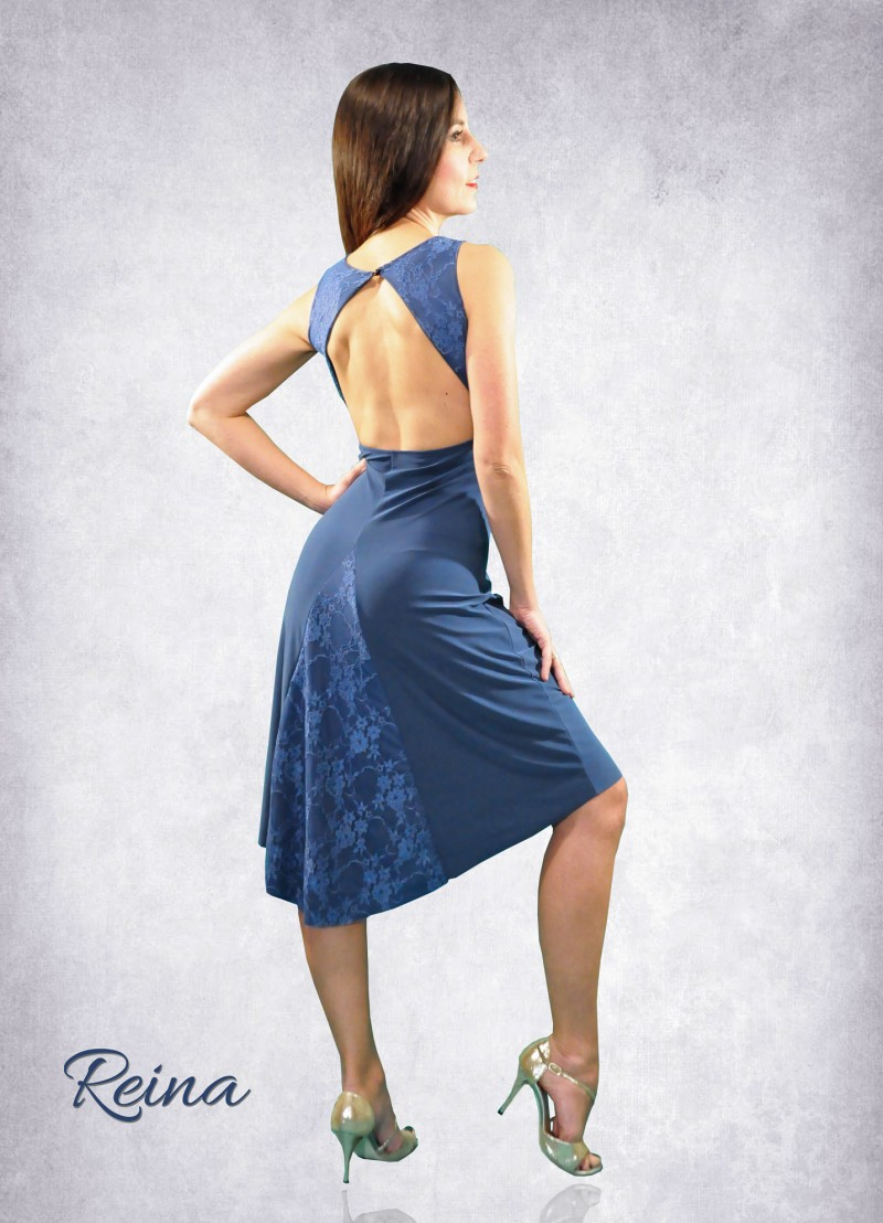 Blue lace tango dress with tail