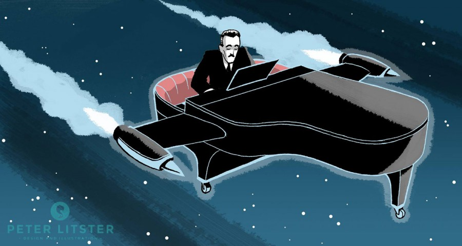 Tango Story: Rodolpho Biagi Flying Through Outer-space with his Grand Piano by Featured Tango Illustrator Peter Litster