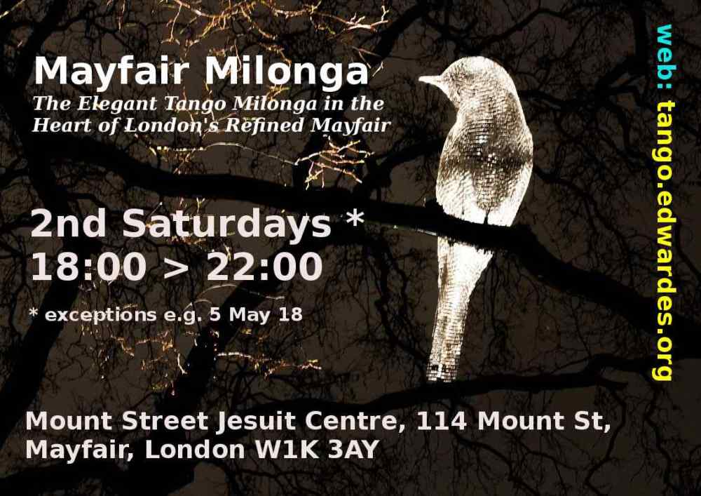 Tango Event Organiser, Filmographer, Photographer, Social Dancer, Tango DJ: Mayfair Milonga