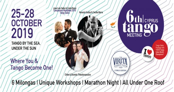6th Cyprus Tango Meeting, LA VIRUTA Edition with HORACIO GODOY, 25th October 2019, is launched! Enjoy the magical scenery, absorb the warm hospitality and let tango carry you away. All under one roof!