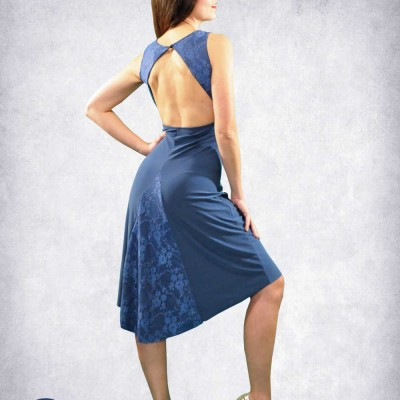 Dancewear For Sale: Blue or black lace tango dress with tail