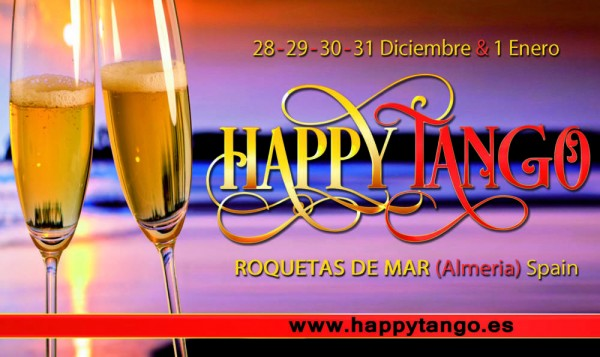 Happy Tango Encuentro in historical Roquetas de Mar, Andalusia, Spain. Enjoy warm winter beaches and wonderful food. Start and end the year dancing tango!